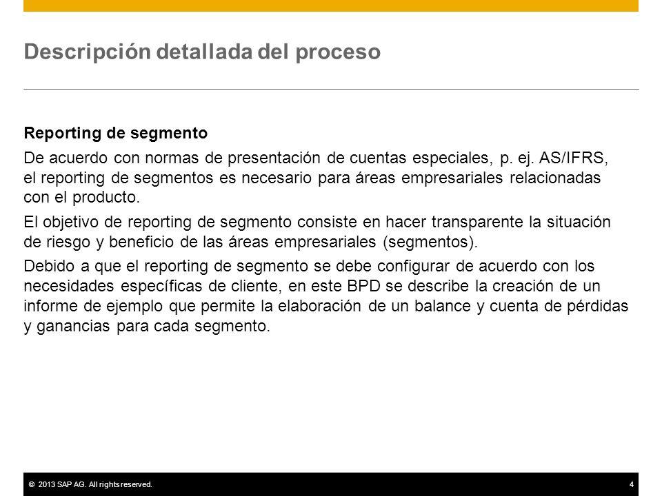 ©2013 SAP AG. All rights reserved.4 Descripción detallada del proceso Reporting de segmento De acuerdo con normas de presentación de cuentas especiale