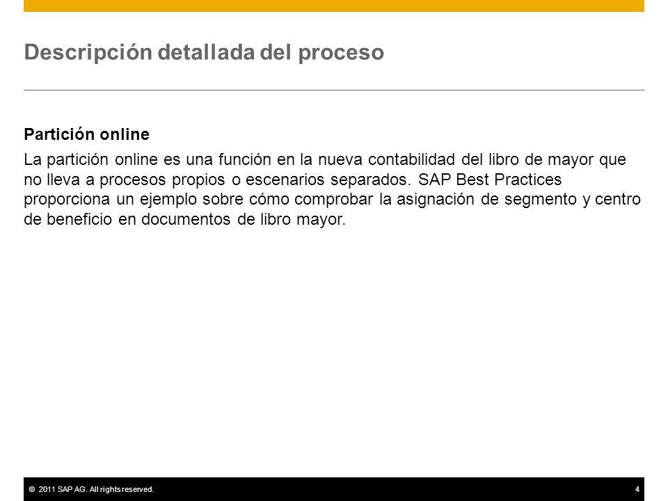 ©2011 SAP AG. All rights reserved.4 Descripción detallada del proceso Partición online La partición online es una función en la nueva contabilidad del