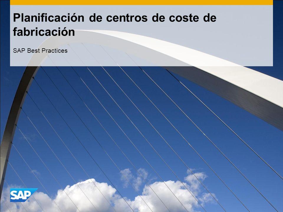 Planificación de centros de coste de fabricación SAP Best Practices