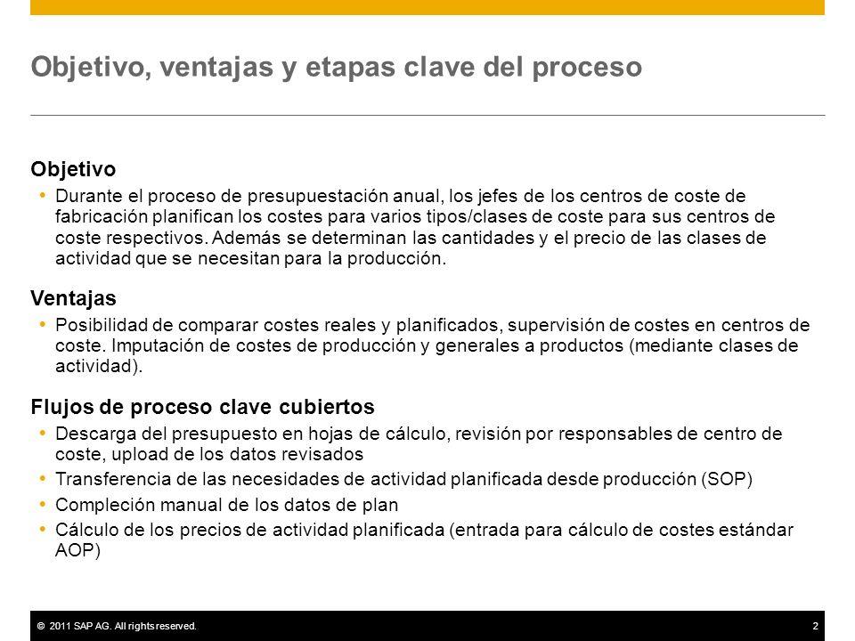 ©2011 SAP AG. All rights reserved.2 Objetivo, ventajas y etapas clave del proceso Objetivo Durante el proceso de presupuestación anual, los jefes de l