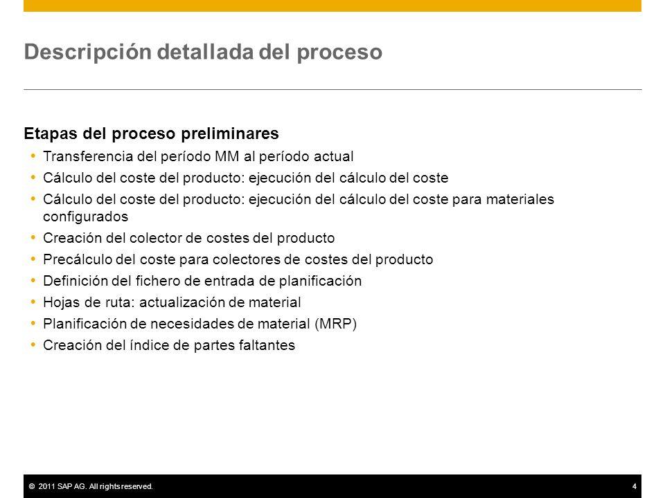 ©2011 SAP AG. All rights reserved.4 Descripción detallada del proceso Etapas del proceso preliminares Transferencia del período MM al período actual C