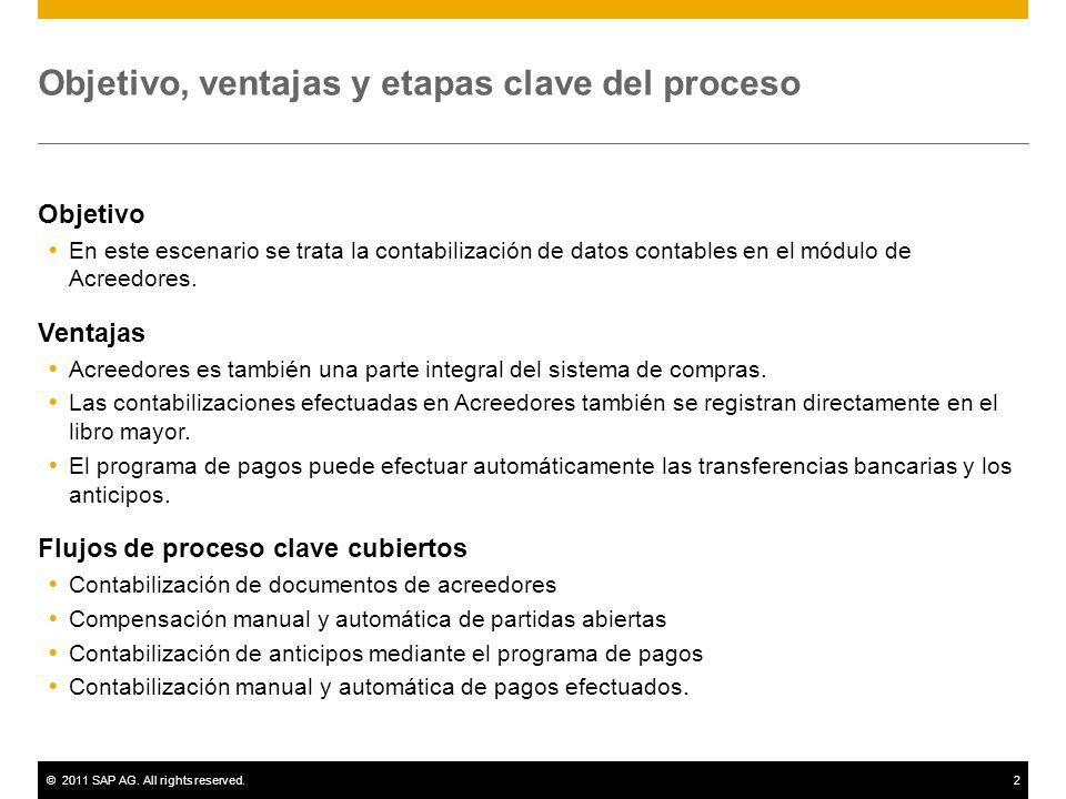 ©2011 SAP AG. All rights reserved.2 Objetivo, ventajas y etapas clave del proceso Objetivo En este escenario se trata la contabilización de datos cont