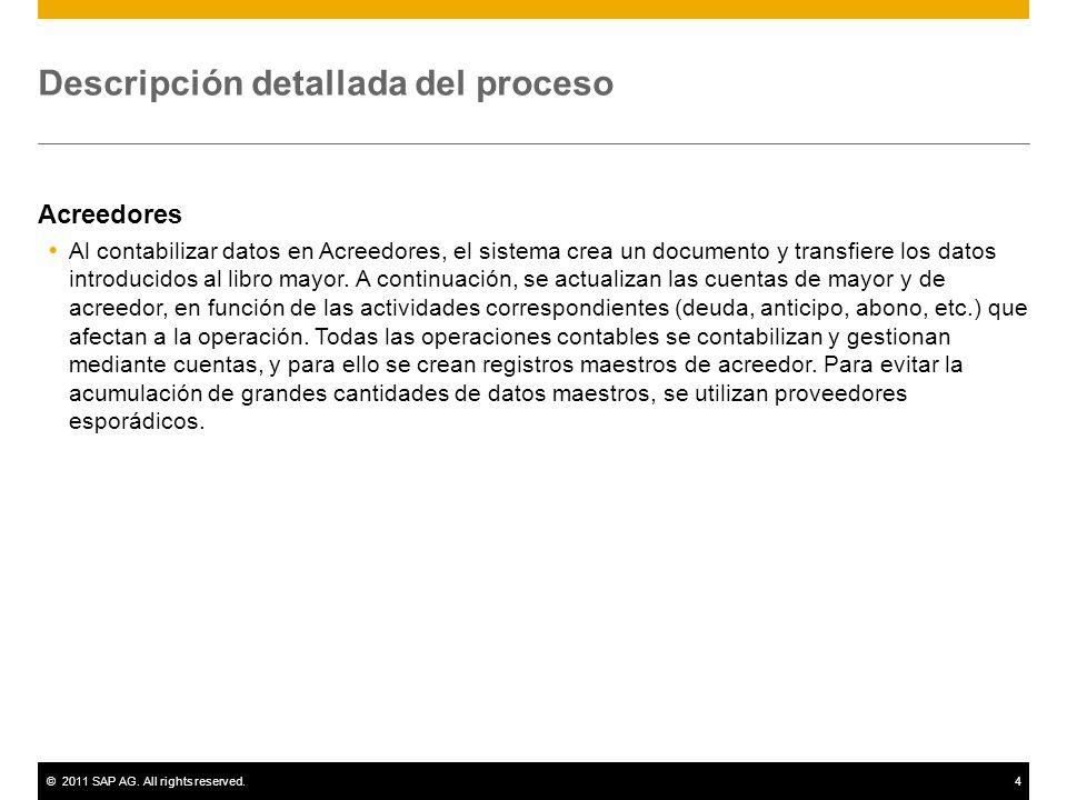 ©2011 SAP AG. All rights reserved.4 Descripción detallada del proceso Acreedores Al contabilizar datos en Acreedores, el sistema crea un documento y t
