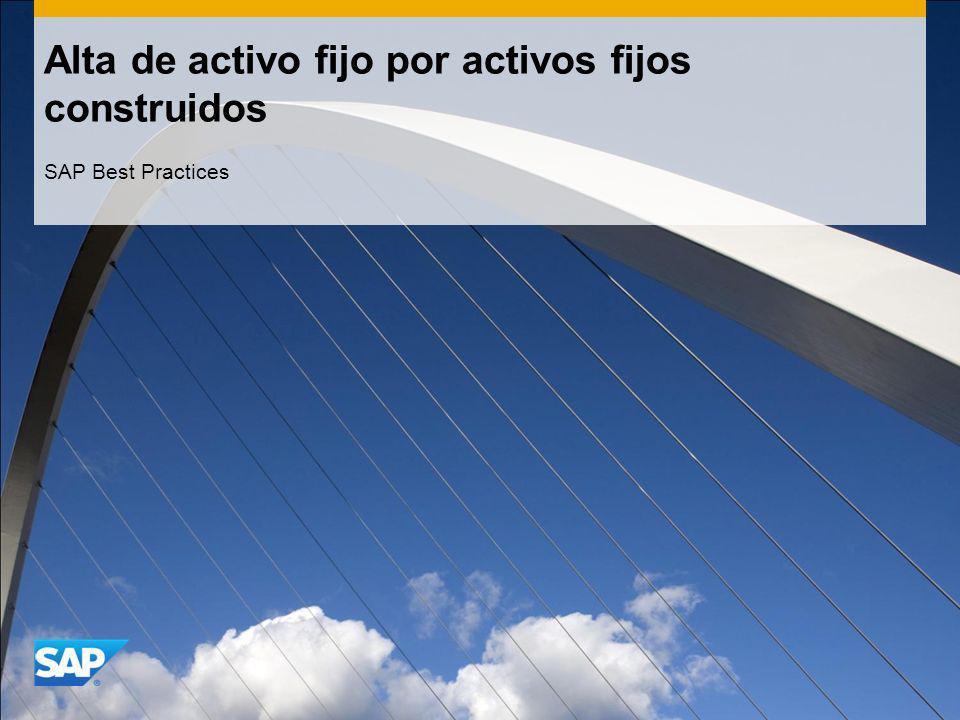 Alta de activo fijo por activos fijos construidos SAP Best Practices