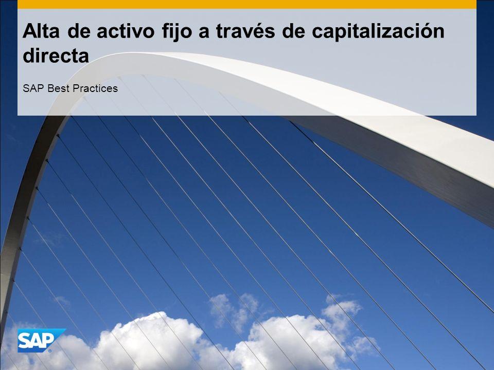 Alta de activo fijo a través de capitalización directa SAP Best Practices