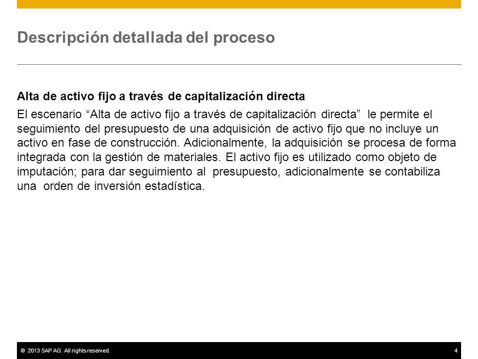 ©2013 SAP AG. All rights reserved.4 Descripción detallada del proceso Alta de activo fijo a través de capitalización directa El escenario Alta de acti