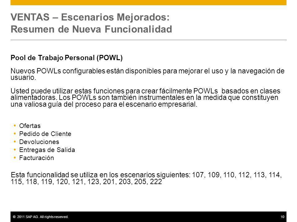 ©2011 SAP AG. All rights reserved.10 VENTAS – Escenarios Mejorados: Resumen de Nueva Funcionalidad Pool de Trabajo Personal (POWL) Nuevos POWLs config