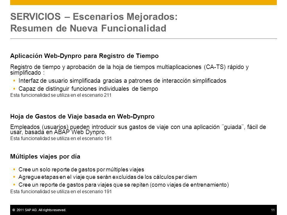 ©2011 SAP AG. All rights reserved.11 SERVICIOS – Escenarios Mejorados: Resumen de Nueva Funcionalidad Aplicación Web-Dynpro para Registro de Tiempo Re