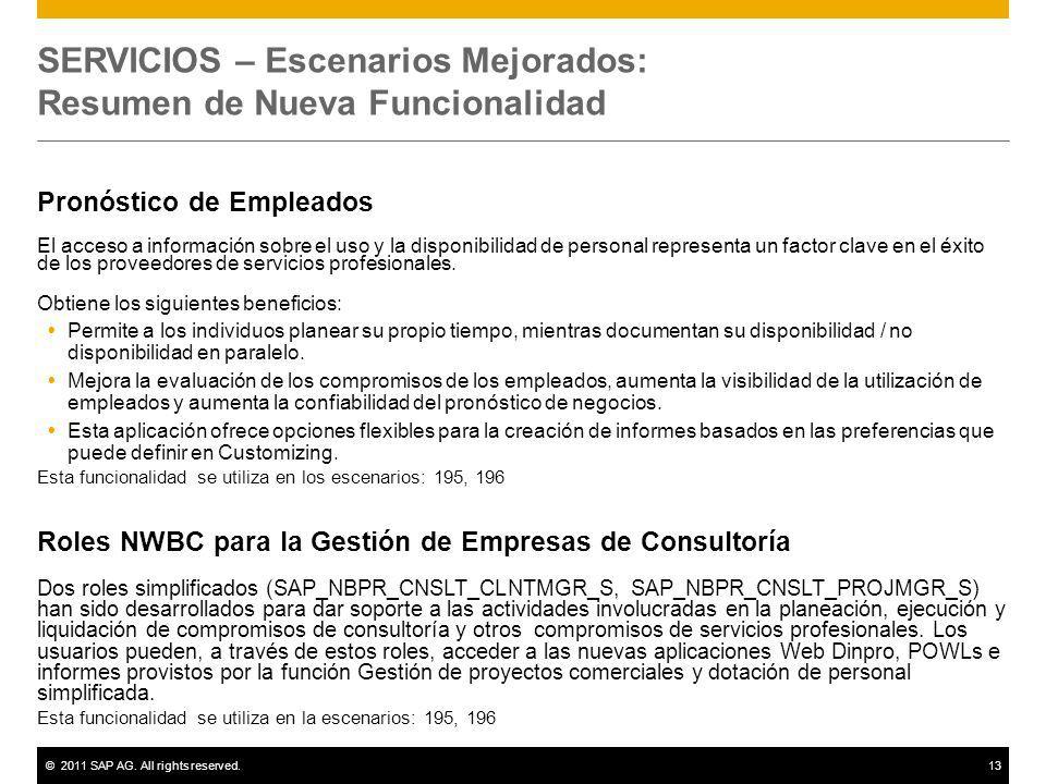 ©2011 SAP AG. All rights reserved.13 SERVICIOS – Escenarios Mejorados: Resumen de Nueva Funcionalidad Pronóstico de Empleados El acceso a información