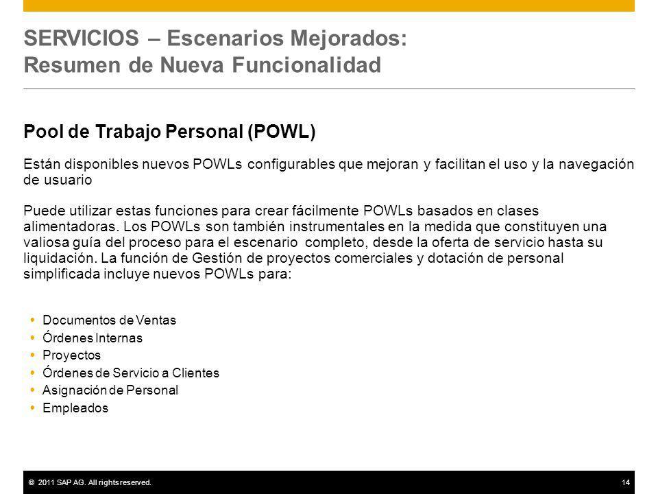 ©2011 SAP AG. All rights reserved.14 SERVICIOS – Escenarios Mejorados: Resumen de Nueva Funcionalidad Pool de Trabajo Personal (POWL) Están disponible