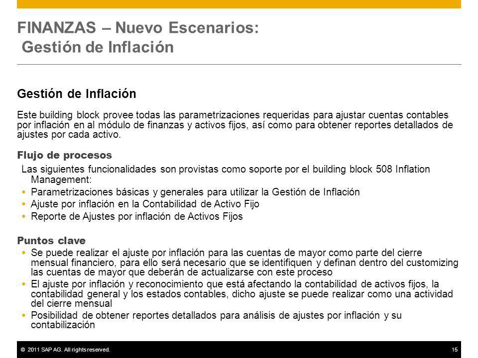 ©2011 SAP AG. All rights reserved.15 FINANZAS – Nuevo Escenarios: Gestión de Inflación Gestión de Inflación Este building block provee todas las param
