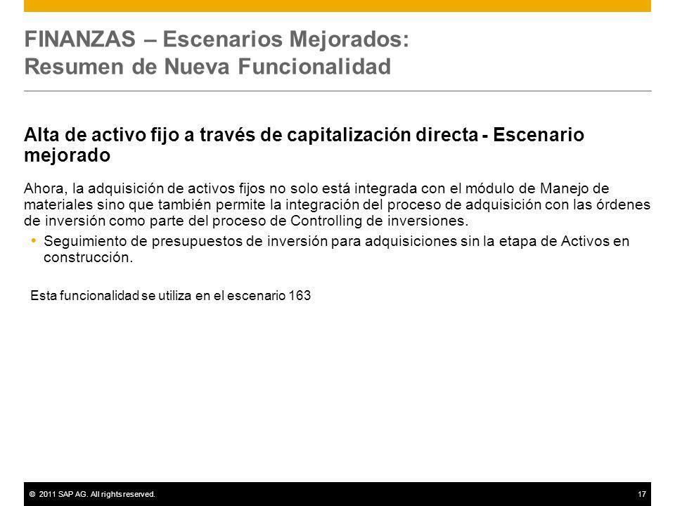 ©2011 SAP AG. All rights reserved.17 FINANZAS – Escenarios Mejorados: Resumen de Nueva Funcionalidad Alta de activo fijo a través de capitalización di