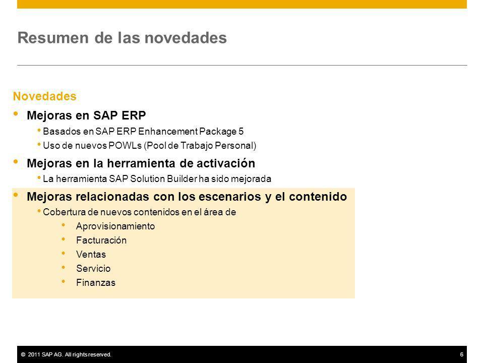 ©2011 SAP AG. All rights reserved.6 Resumen de las novedades Novedades Mejoras en SAP ERP Basados en SAP ERP Enhancement Package 5 Uso de nuevos POWLs