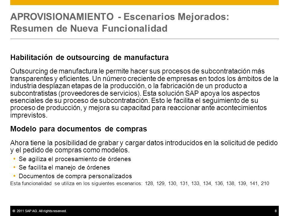 ©2011 SAP AG. All rights reserved.8 APROVISIONAMIENTO - Escenarios Mejorados: Resumen de Nueva Funcionalidad Habilitación de outsourcing de manufactur
