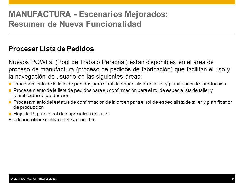 ©2011 SAP AG. All rights reserved.9 MANUFACTURA - Escenarios Mejorados: Resumen de Nueva Funcionalidad Procesar Lista de Pedidos Nuevos POWLs (Pool de