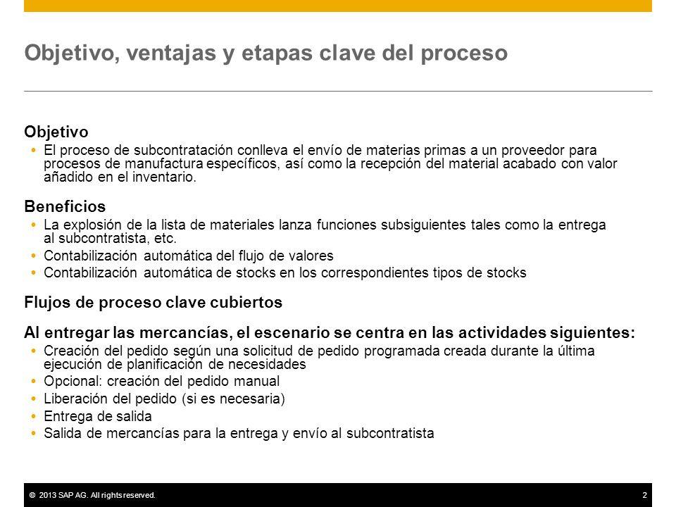 ©2013 SAP AG. All rights reserved.2 Objetivo, ventajas y etapas clave del proceso Objetivo El proceso de subcontratación conlleva el envío de materias