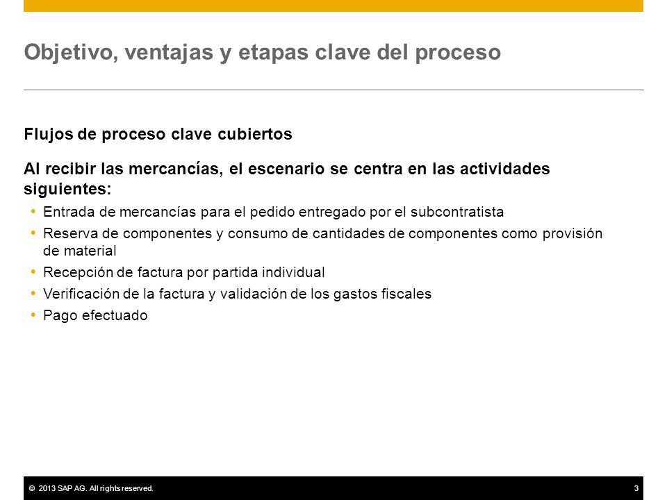 ©2013 SAP AG. All rights reserved.3 Objetivo, ventajas y etapas clave del proceso Flujos de proceso clave cubiertos Al recibir las mercancías, el esce
