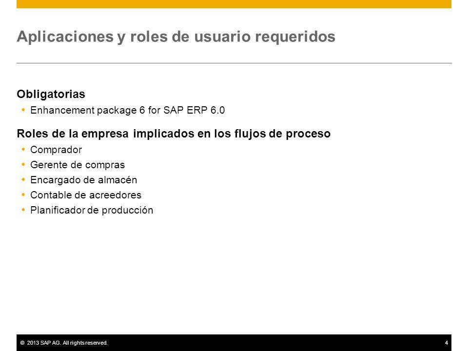 ©2013 SAP AG. All rights reserved.4 Aplicaciones y roles de usuario requeridos Obligatorias Enhancement package 6 for SAP ERP 6.0 Roles de la empresa