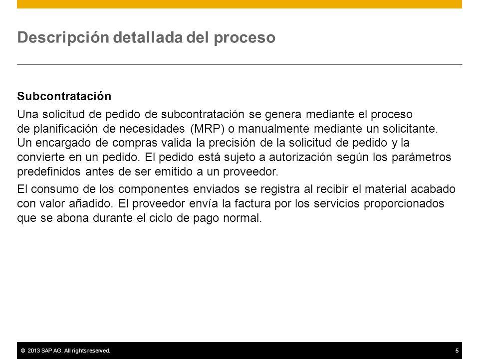 ©2013 SAP AG. All rights reserved.5 Descripción detallada del proceso Subcontratación Una solicitud de pedido de subcontratación se genera mediante el