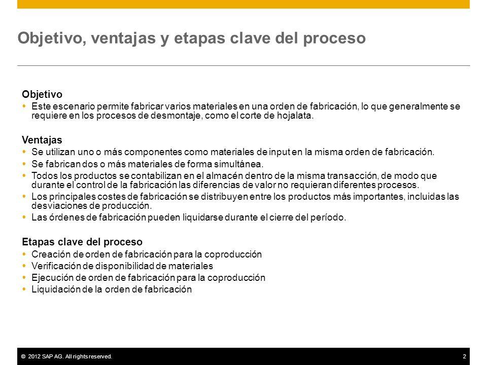 ©2012 SAP AG. All rights reserved.2 Objetivo, ventajas y etapas clave del proceso Objetivo Este escenario permite fabricar varios materiales en una or