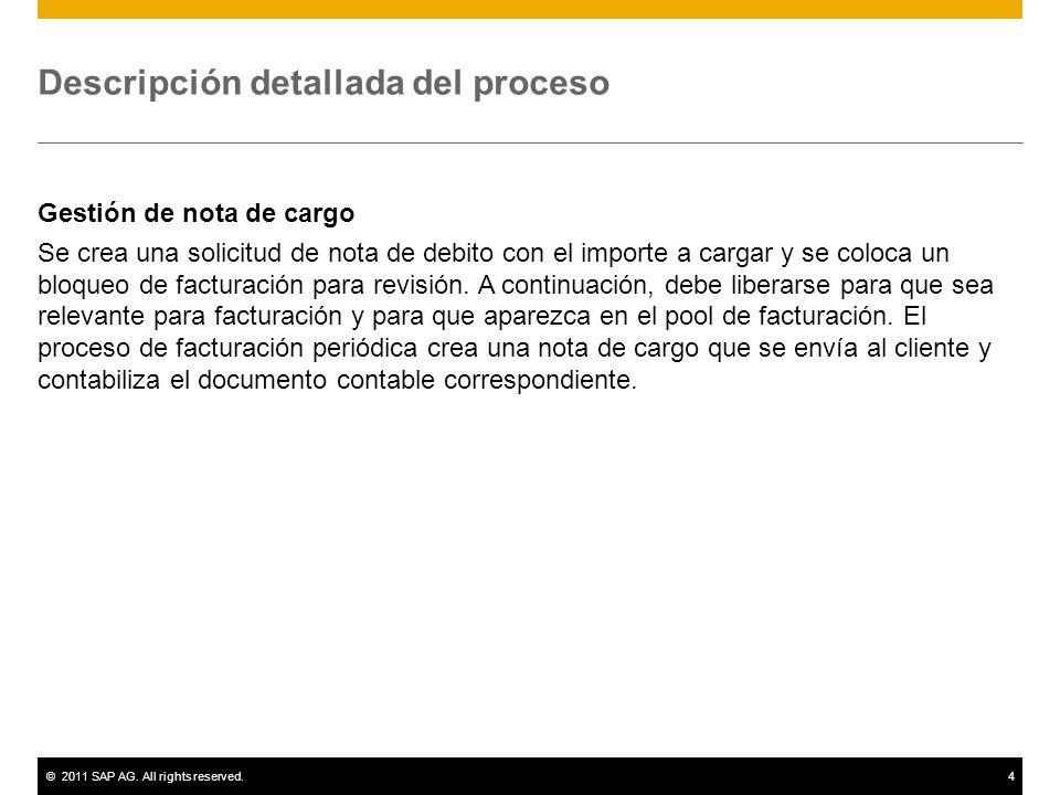 ©2011 SAP AG. All rights reserved.4 Descripción detallada del proceso Gestión de nota de cargo Se crea una solicitud de nota de debito con el importe