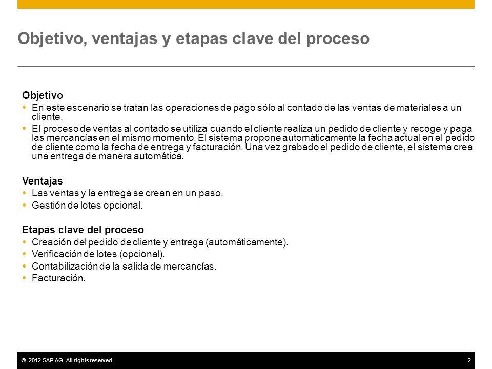 ©2012 SAP AG. All rights reserved.2 Objetivo, ventajas y etapas clave del proceso Objetivo En este escenario se tratan las operaciones de pago sólo al