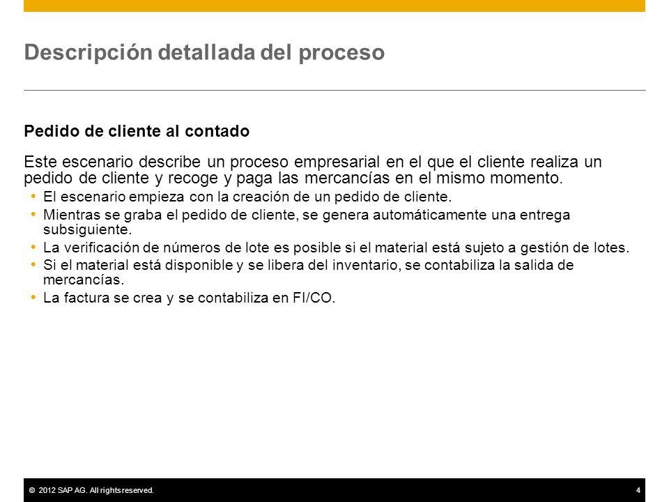 ©2012 SAP AG. All rights reserved.4 Descripción detallada del proceso Pedido de cliente al contado Este escenario describe un proceso empresarial en e
