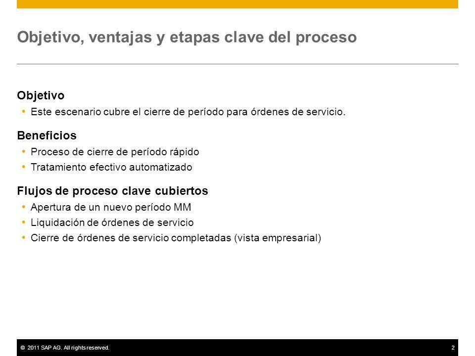 ©2011 SAP AG. All rights reserved.2 Objetivo, ventajas y etapas clave del proceso Objetivo Este escenario cubre el cierre de período para órdenes de s