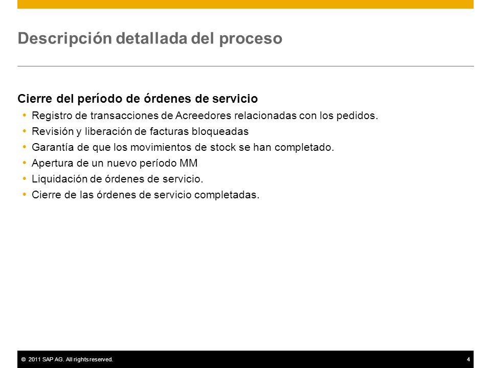 ©2011 SAP AG. All rights reserved.4 Descripción detallada del proceso Cierre del período de órdenes de servicio Registro de transacciones de Acreedore
