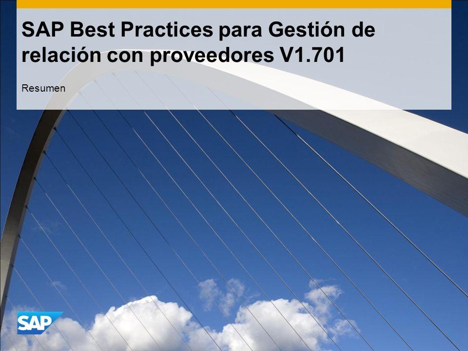 SAP Best Practices para Gestión de relación con proveedores V1.701 Resumen