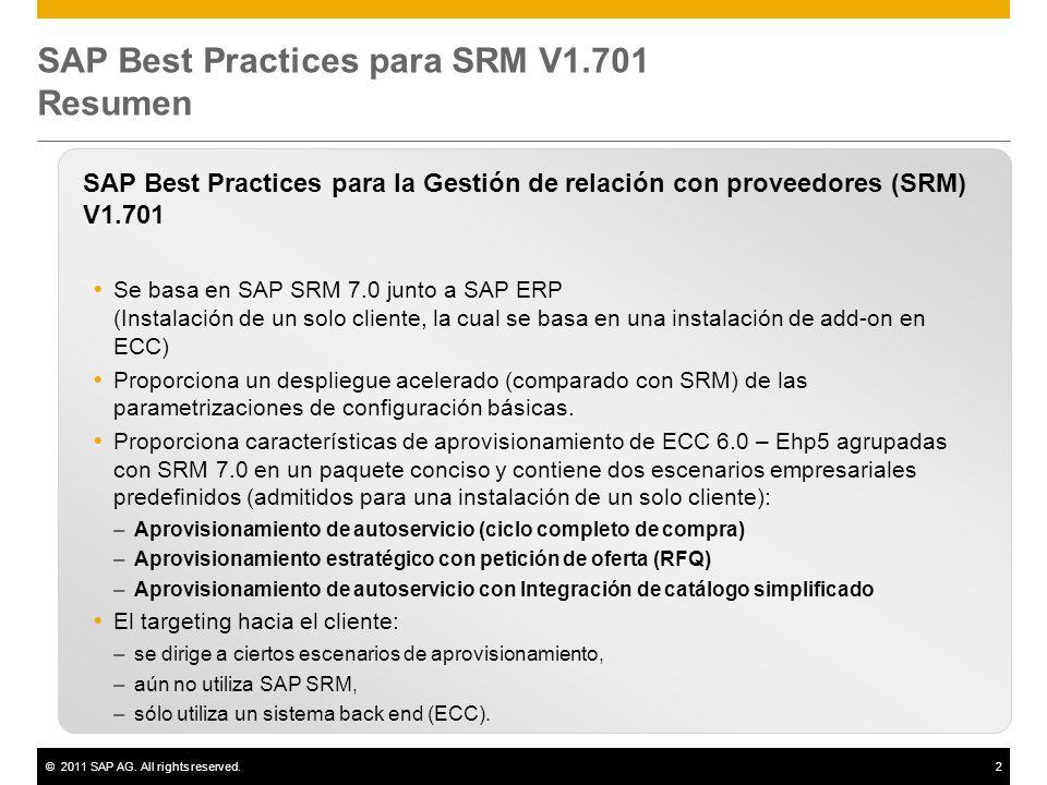 ©2011 SAP AG. All rights reserved.2 SAP Best Practices para SRM V1.701 Resumen SAP Best Practices para la Gestión de relación con proveedores (SRM) V1