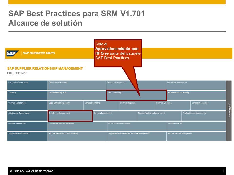 ©2011 SAP AG. All rights reserved.3 SAP Best Practices para SRM V1.701 Alcance de solutión Sólo el Aprovisionamiento con RFQ es parte del paquete SAP