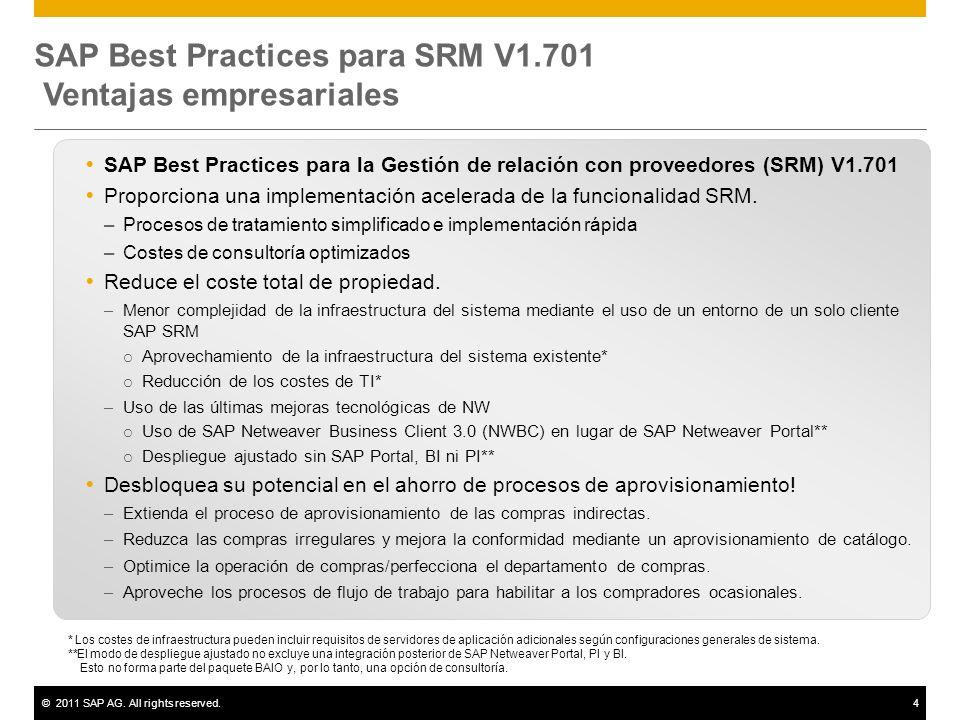 ©2011 SAP AG. All rights reserved.4 SAP Best Practices para SRM V1.701 Ventajas empresariales SAP Best Practices para la Gestión de relación con prove