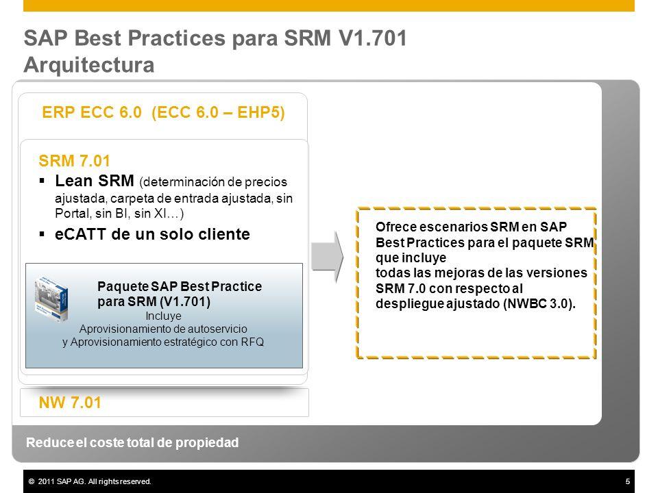 ©2011 SAP AG. All rights reserved.5 SAP Best Practices para SRM V1.701 Arquitectura Reduce el coste total de propiedad ERP ECC 6.0 (ECC 6.0 – EHP5) NW