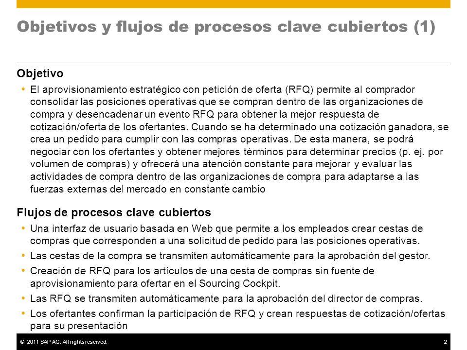 ©2011 SAP AG. All rights reserved.2 Objetivos y flujos de procesos clave cubiertos (1) Objetivo El aprovisionamiento estratégico con petición de ofert