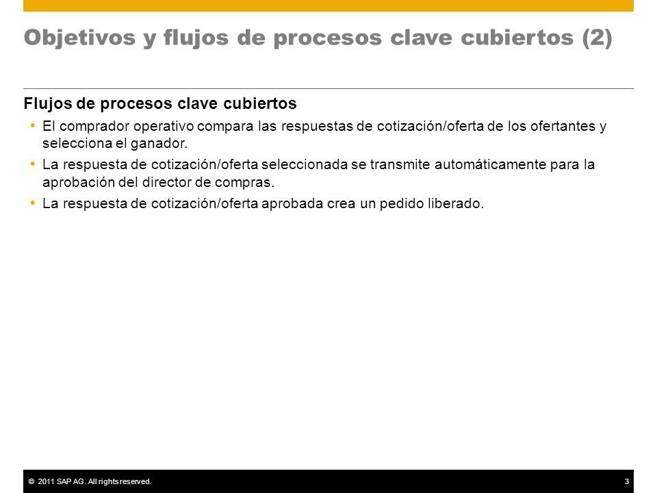 ©2011 SAP AG. All rights reserved.3 Objetivos y flujos de procesos clave cubiertos (2) Flujos de procesos clave cubiertos El comprador operativo compa