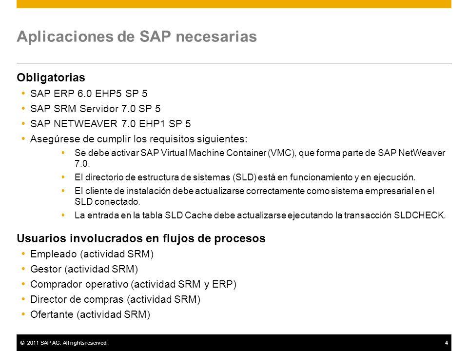 ©2011 SAP AG. All rights reserved.4 Aplicaciones de SAP necesarias Obligatorias SAP ERP 6.0 EHP5 SP 5 SAP SRM Servidor 7.0 SP 5 SAP NETWEAVER 7.0 EHP1
