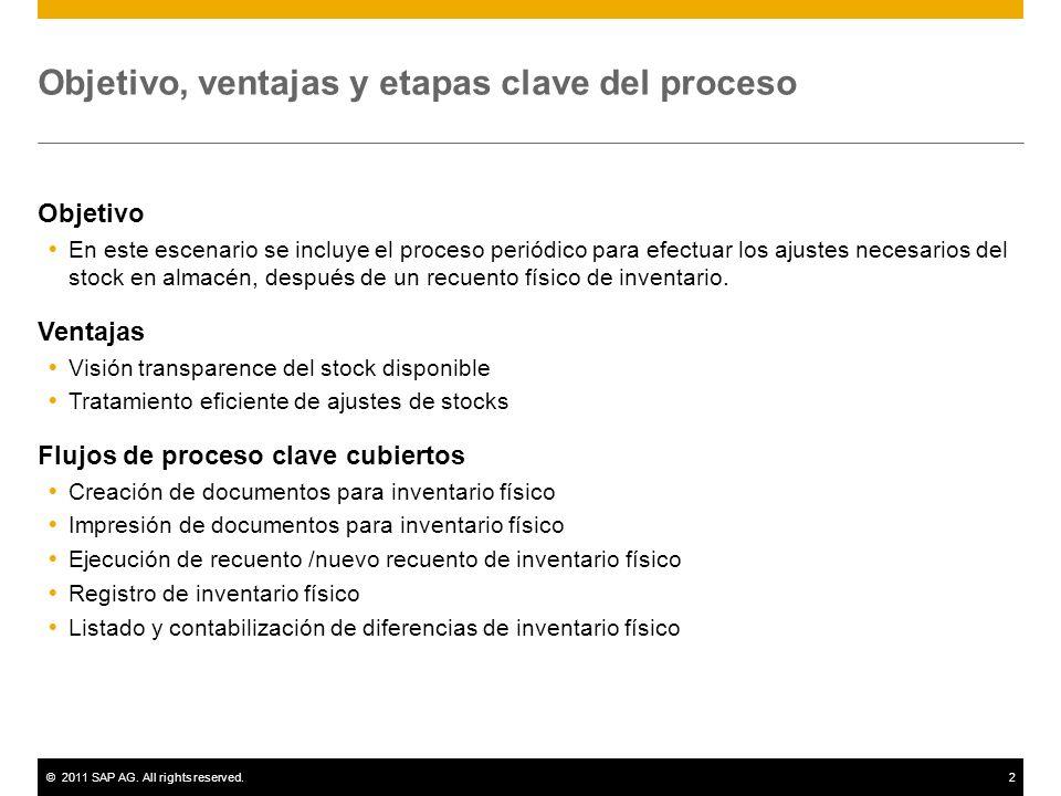 ©2011 SAP AG. All rights reserved.2 Objetivo, ventajas y etapas clave del proceso Objetivo En este escenario se incluye el proceso periódico para efec