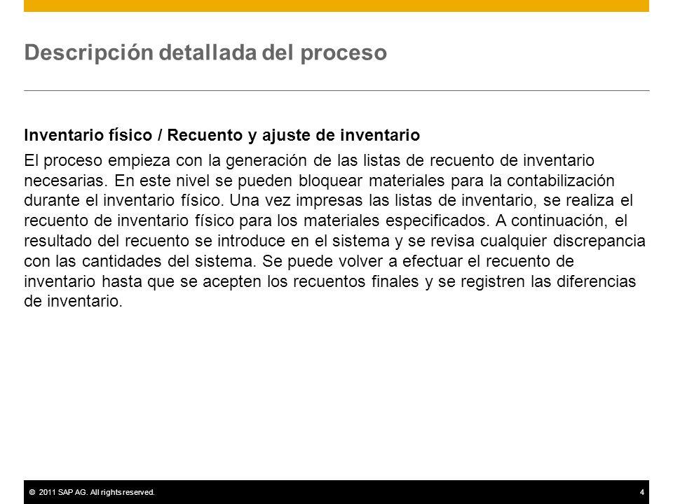 ©2011 SAP AG. All rights reserved.4 Descripción detallada del proceso Inventario físico / Recuento y ajuste de inventario El proceso empieza con la ge