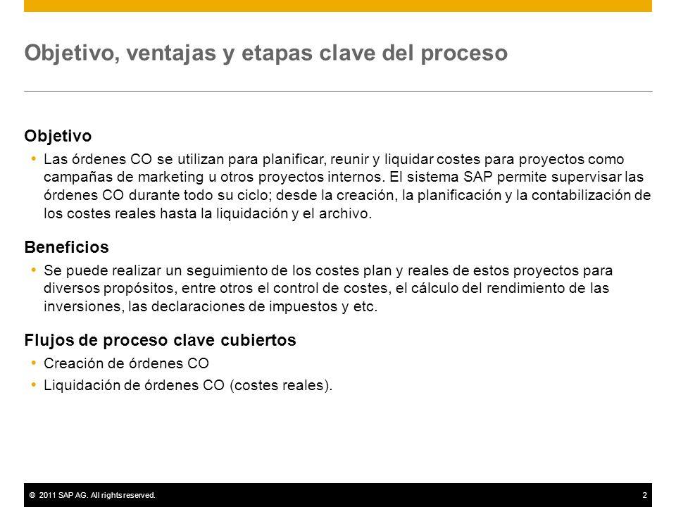 ©2011 SAP AG. All rights reserved.2 Objetivo, ventajas y etapas clave del proceso Objetivo Las órdenes CO se utilizan para planificar, reunir y liquid