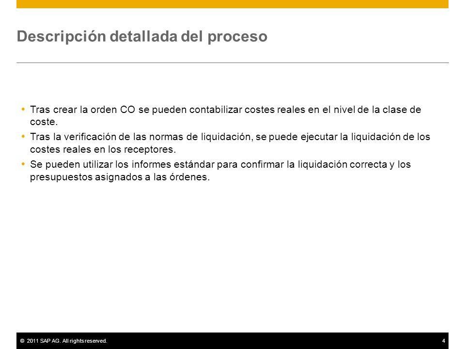 ©2011 SAP AG. All rights reserved.4 Descripción detallada del proceso Tras crear la orden CO se pueden contabilizar costes reales en el nivel de la cl