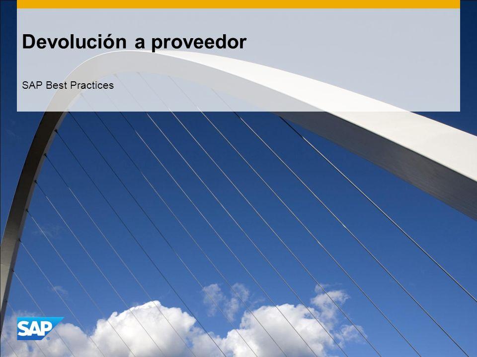 Devolución a proveedor SAP Best Practices