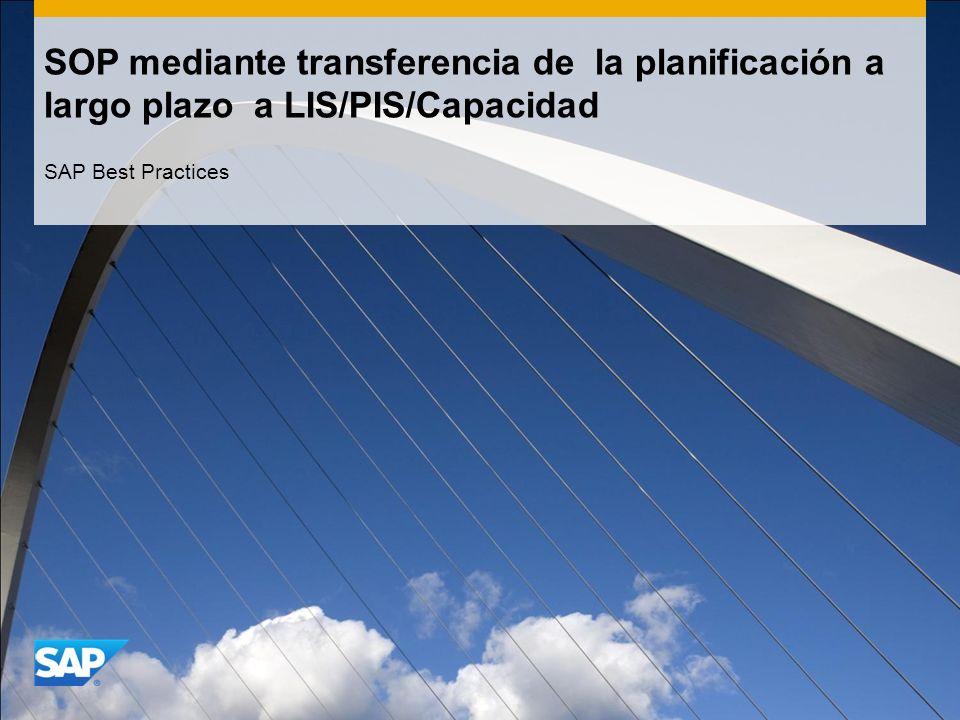SOP mediante transferencia de la planificación a largo plazo a LIS/PIS/Capacidad SAP Best Practices