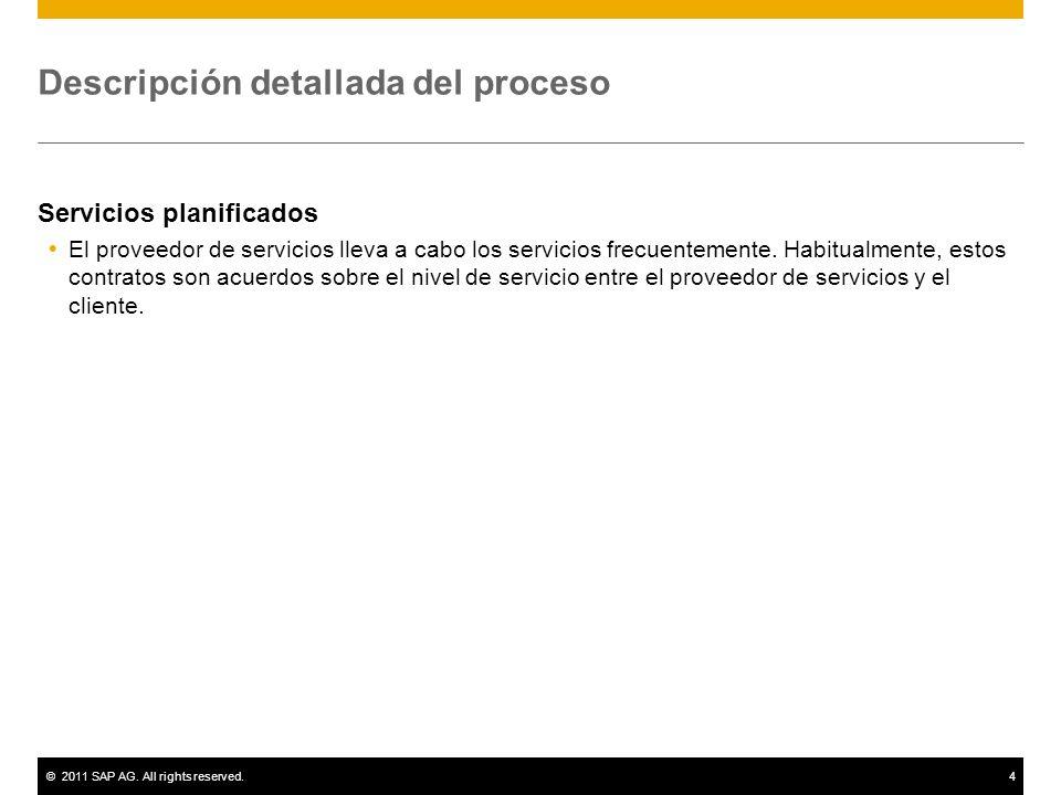©2011 SAP AG. All rights reserved.4 Descripción detallada del proceso Servicios planificados El proveedor de servicios lleva a cabo los servicios frec