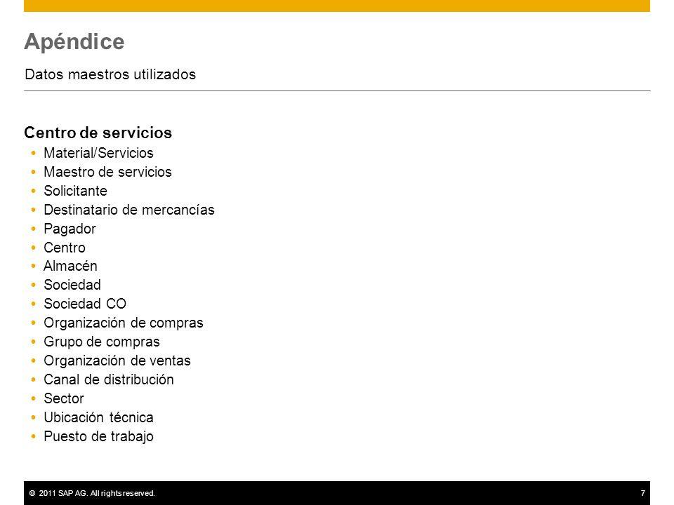 ©2011 SAP AG. All rights reserved.7 Apéndice Datos maestros utilizados Centro de servicios Material/Servicios Maestro de servicios Solicitante Destina