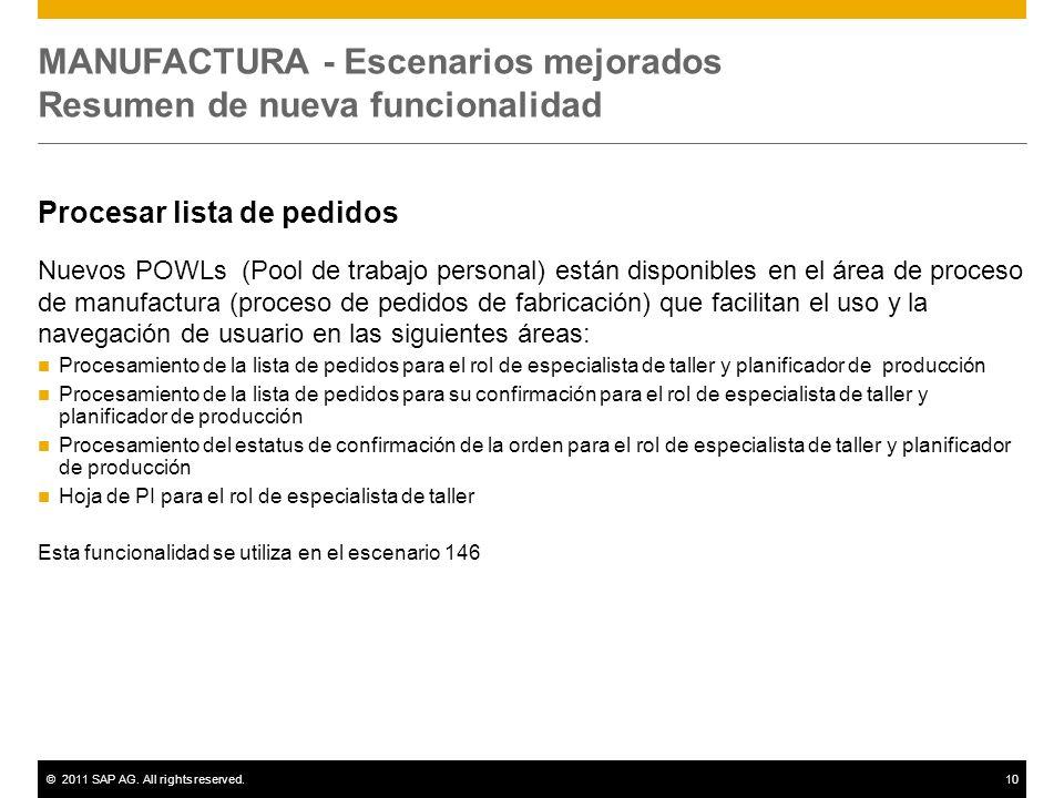 ©2011 SAP AG. All rights reserved.10 MANUFACTURA - Escenarios mejorados Resumen de nueva funcionalidad Procesar lista de pedidos Nuevos POWLs (Pool de
