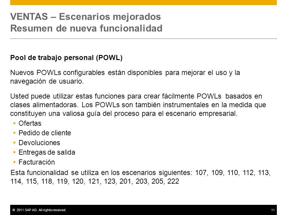 ©2011 SAP AG. All rights reserved.11 VENTAS – Escenarios mejorados Resumen de nueva funcionalidad Pool de trabajo personal (POWL) Nuevos POWLs configu