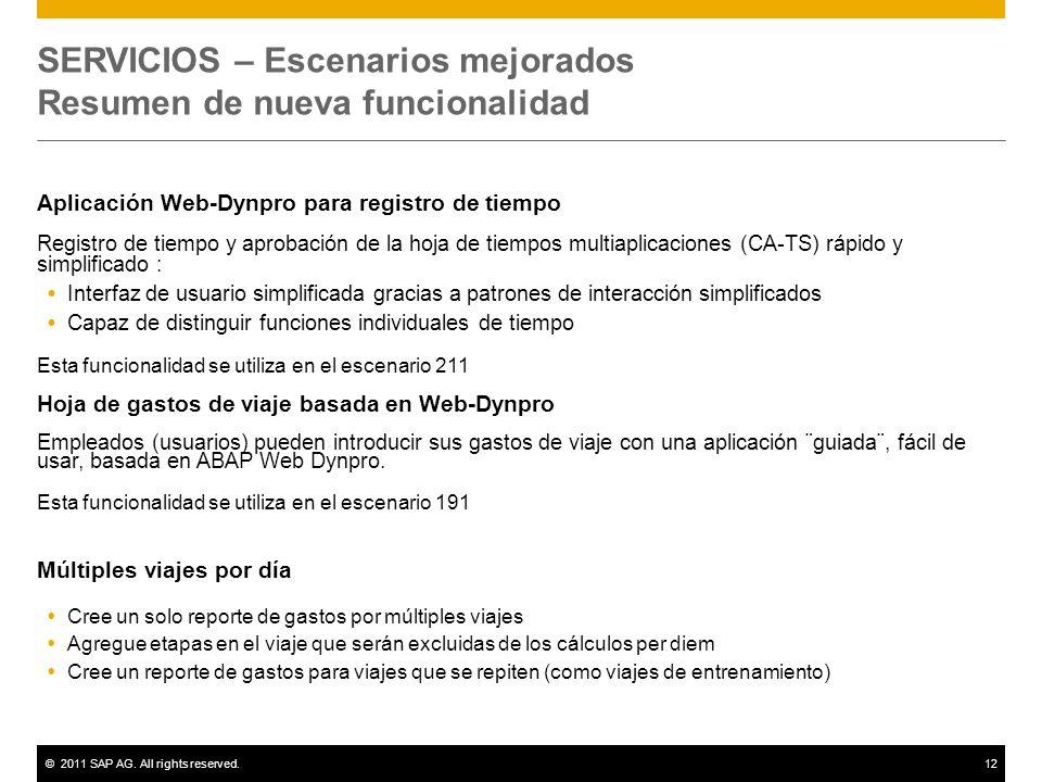 ©2011 SAP AG. All rights reserved.12 SERVICIOS – Escenarios mejorados Resumen de nueva funcionalidad Aplicación Web-Dynpro para registro de tiempo Reg