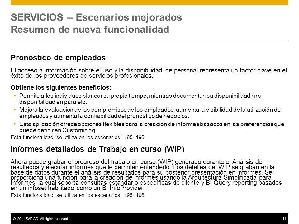 ©2011 SAP AG. All rights reserved.14 SERVICIOS – Escenarios mejorados Resumen de nueva funcionalidad Pronóstico de empleados El acceso a información s