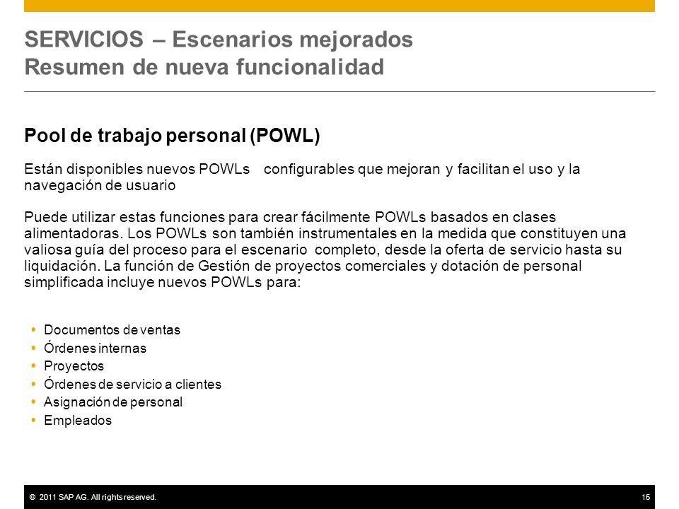 ©2011 SAP AG. All rights reserved.15 SERVICIOS – Escenarios mejorados Resumen de nueva funcionalidad Pool de trabajo personal (POWL) Están disponibles